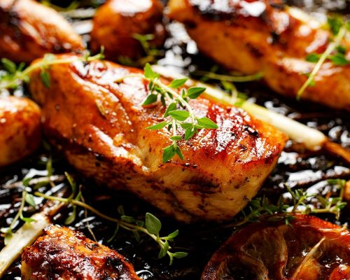 Chicken fillet with lemon and herb marinade . Delicious and nutritious dish with grilled.